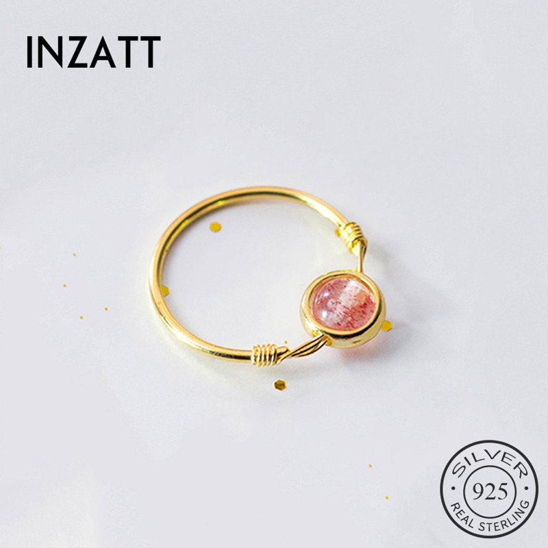 INZATT Real 925 Sterling Silver Strawberry Crystal Round Ring For Fashion Women Party Cute Fine Jewelry  Accessories 2019 Gift