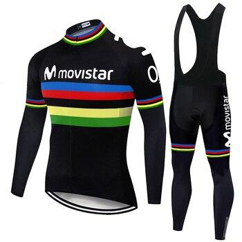 Invierno movistar Ciclismo Jersey Set bicicleta montaña Tops desgaste Bib pantalones transpirable...