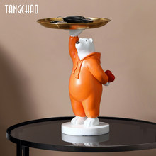 Home Key Storage Creative Love Polar Bear Figurine Storage Home Decor Art Sculpture Living Room Table Figurines Decorative Gift