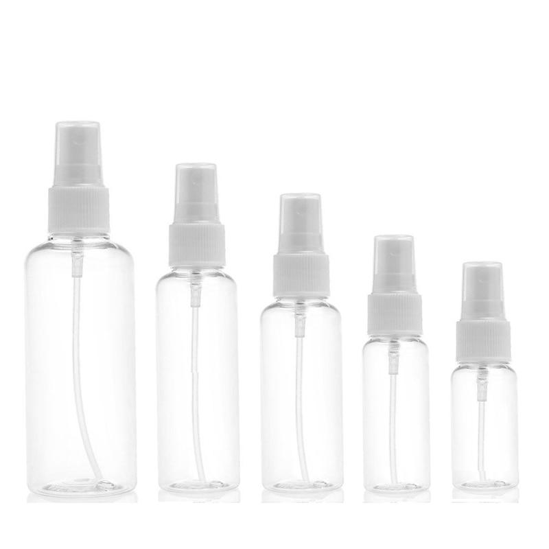 5 Stücke Tragbare Kleine Transparente Kunststoff Leere Spray Flasche Nachfüllbare Flaschen 10 Ml/30 Ml/50 Ml/ 60 Ml/100 Ml
