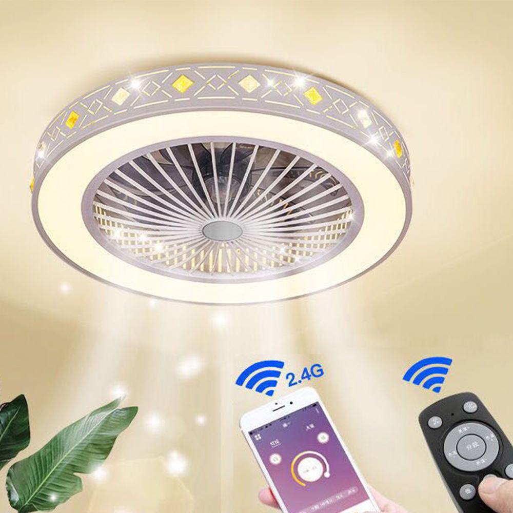 LED Ceiling Fan Lamp Light Mobile Phone App Remote Control Modern Invisible 60cm Fans Home Decoration Lighting Circular Round