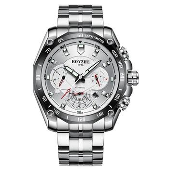 Automatic Mechanical Watch Men's Relogio Male Fashion Stainless Steel Watch Waterproof Luminous Luxury Clock Month Calendar Week 1