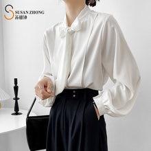 Женские рубашки женские блузки топы с длинными рукавами фонариками