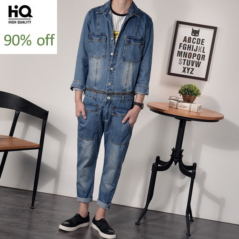 Denim Overalls Mens Autumn 2020 Korean Fashion Punk Style Casual Jeans Jacket Ankle-Length Pants Male Pockets Slim Fit Jumpsuits
