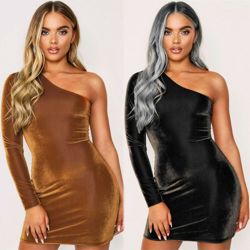 2020 Ladies Dress Hot Sell Women Sexy One Shoulder Mini Lady Evening Party Gown Solid Dress New Arrival Two Colors Optional