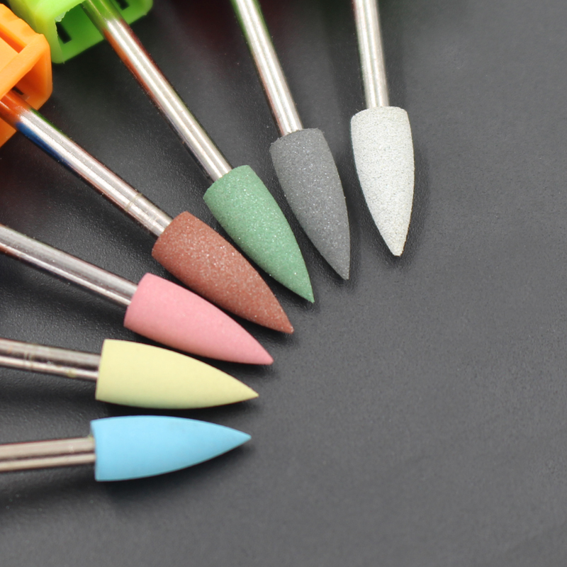 1Pcs Cuspidal 4mm Head 7 Colors Rubber Silicon Carbide Nail Buffer Electric Manicure Machine Nail Drill Accessories Rotary Tools