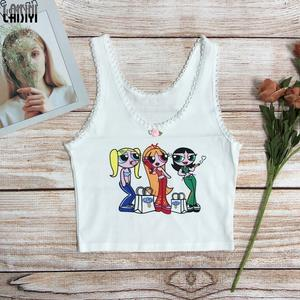 LAISIYI Cool White Lace Tank Top Women Summer Streetwear Cartoon Powerpuff Print Cropped Tshirts Cute Sleeveless Vest Dropship