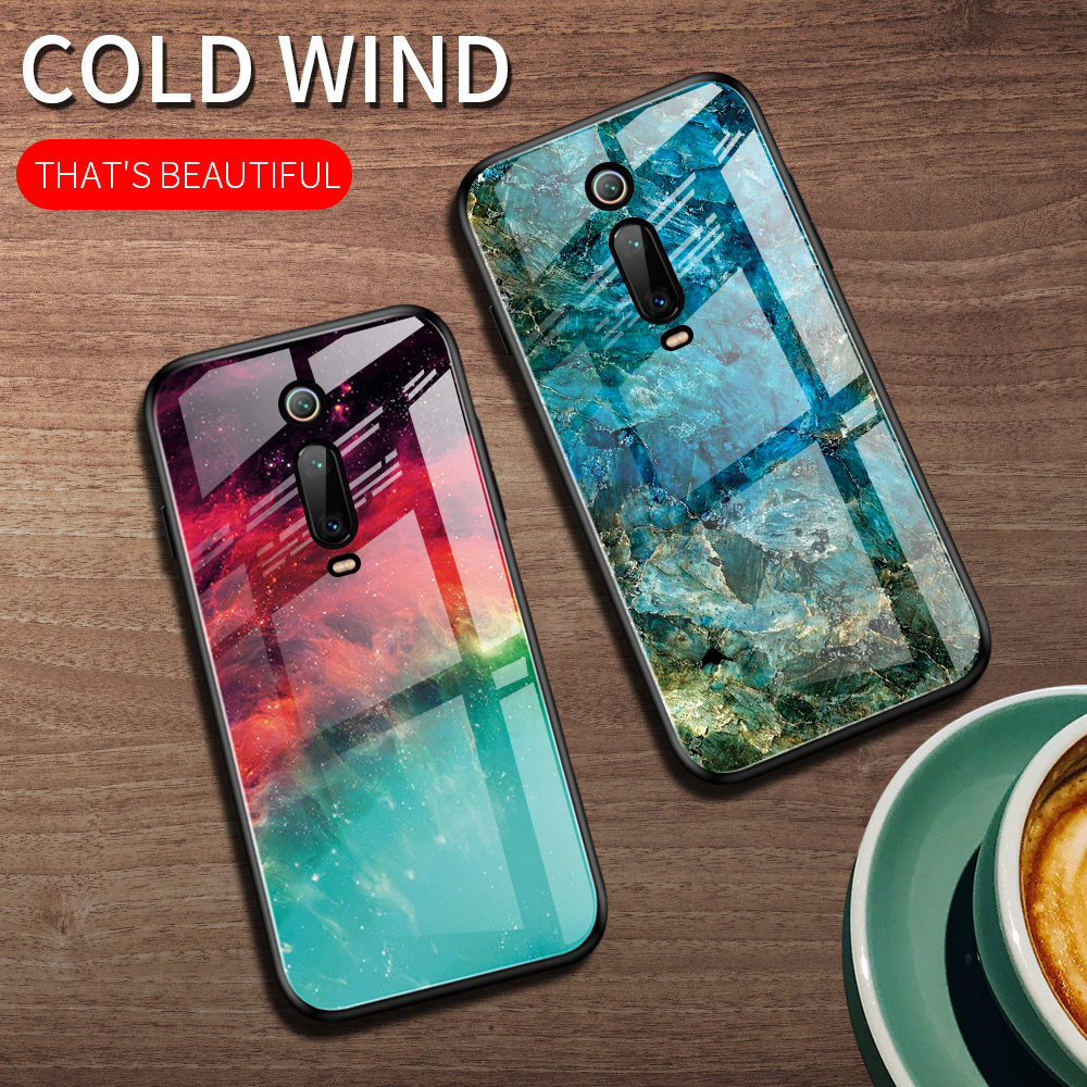 Starry Sky Pattern Tempered Glass Phone Case For Xiaom Mi 9T Soft Frame Marble Hard Back Cover Capa 9 9SE Funda