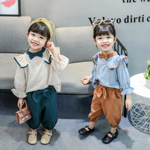 KISBINI 2020 Autumn New Toddler Girls Clothes Set Long Sleeve Top+Pants Knotbow Button Cotton Clothing Suit For Baby Girls jxysy toddler kid baby girls clothing set ruffles floral top pleated pants spring autumn girls clothes children costumes