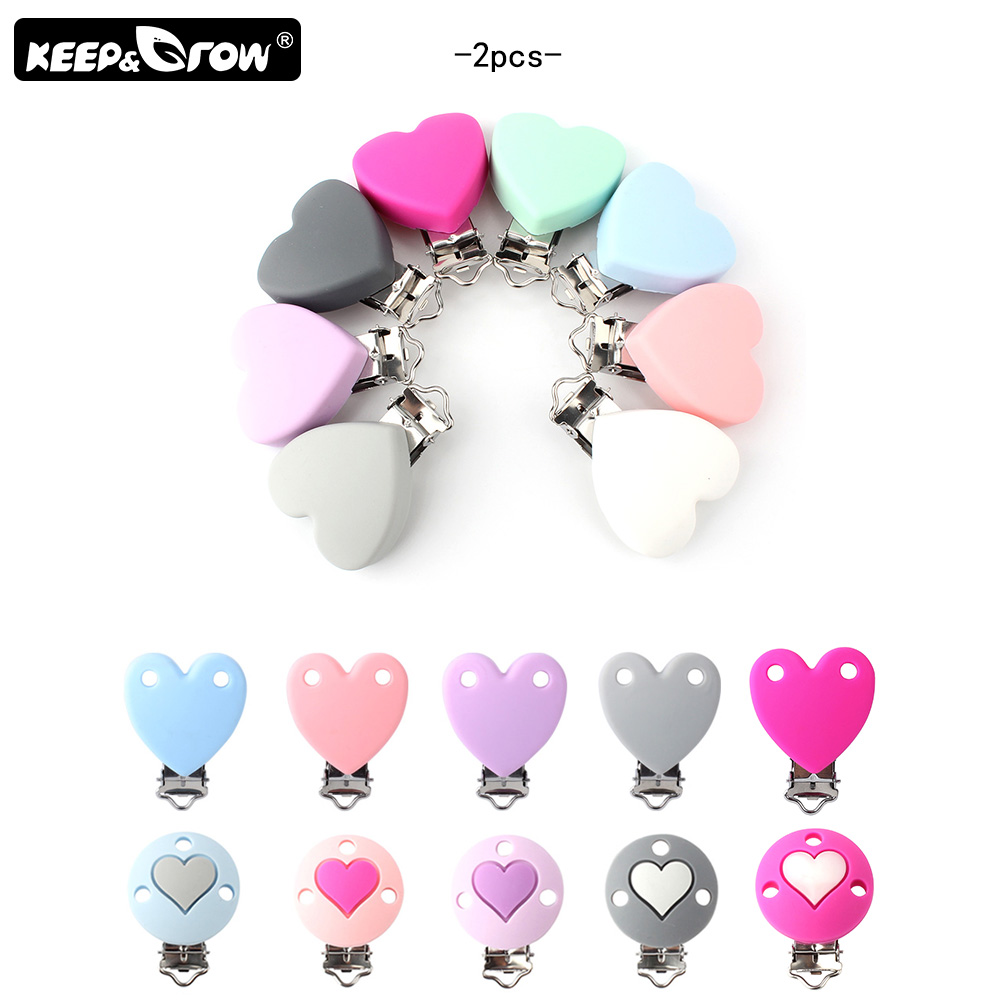 Keep&Grow 2Pcs Heart Shape Silicone Pacifier Clips Holder Stainless Nipple Clasps Silicone Beads For Teething Necklace DIY Tool