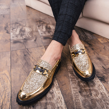 2019 British Style Fashion Gold Glossy Men Shoes Hot Sale Leather Vintage Men Casual Shoes Increase Plus Size Stage Show Loafers цены онлайн