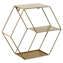 Hexagonal Geometric Nordic Iron Grid Wall Shelf Wall-Mounted Metal Rack Hanging Display Book Floating Storage -Golden