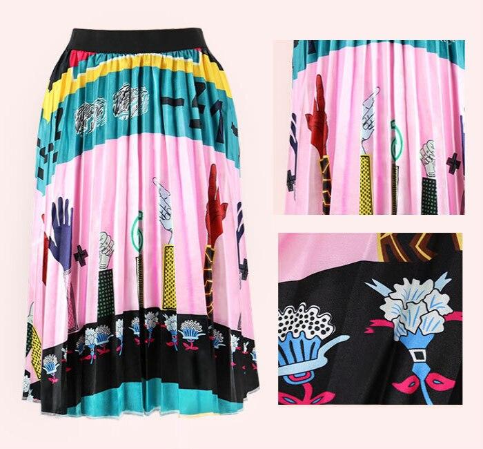 2020 Summer Newest Letter Print Long Skirt Women Irregular Stitching Color Skirt Lady High Waist Elastic A-Line Skirt ZQY832 47