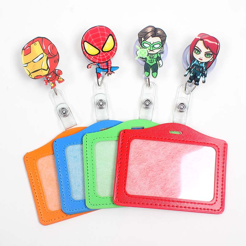 Cartoon The Avengers Acrylic Badge Scroll Nurse Office Reel Character Scalable Student Exhibition Business Card Badge Holder