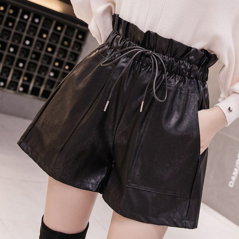 2019 Autumn New Korean Style Female Sexy Leather Shorts High Waist Loose Wide Leg Short Femme Elastic Waist Belt Free Shipping