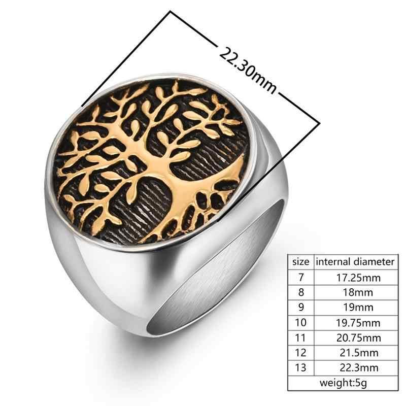 Jiayiqi Stylish ต้นไม้ของสแตนเลสแหวนผู้ชายผู้หญิงเงินทองสีงานแต่งงานแหวน Punk Rock Hiphop เครื่องประดับของขวัญ
