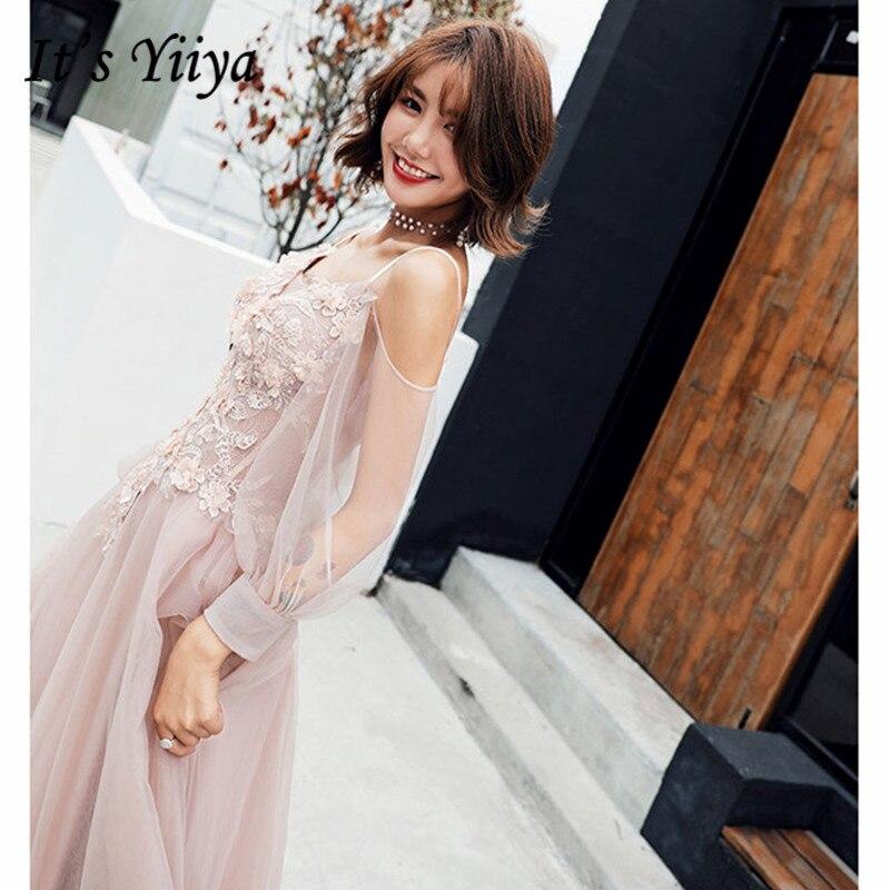 It's YiiYa Prom Dress 2019 Pink Spaghetti Strap Lace Dress Elegant Long Sleeve Women Party Night Vestidos De Gala Plus Size E495