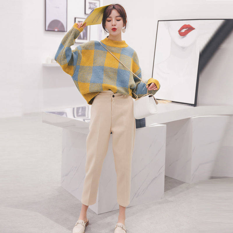 Early Autumn Sweater Female New Woolen Pants Autumn Suit Female Small Fragrance Wind Hong Kong Flavor Temperament Sweater Two-pi