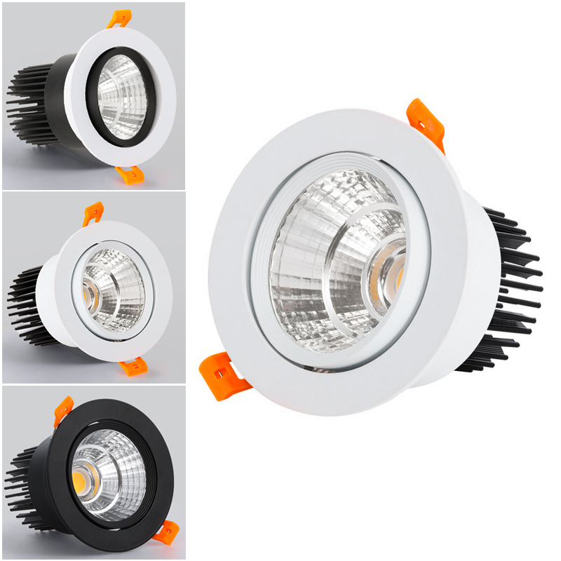 LED Spotlight Ceiling Lamp AC85-265V 3W 5W 7W 12W 15W Aluminum Recessed COB Downlights Round Led Panel Light Indoor Lighting