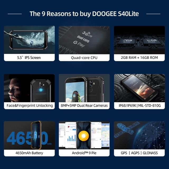 IP68 DOOGEE S40 Lite Quad Core 2GB 16GB Android 9.0 Rugged Phone Mobile Phone 5.5inch Display 4650mAh 8.0MP Fingerprint