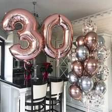 40 polegada número da folha balão metal rosa ouro confetes balões 18 21 25 30th festa de aniversário do chuveiro do bebê decoração casamento supplie