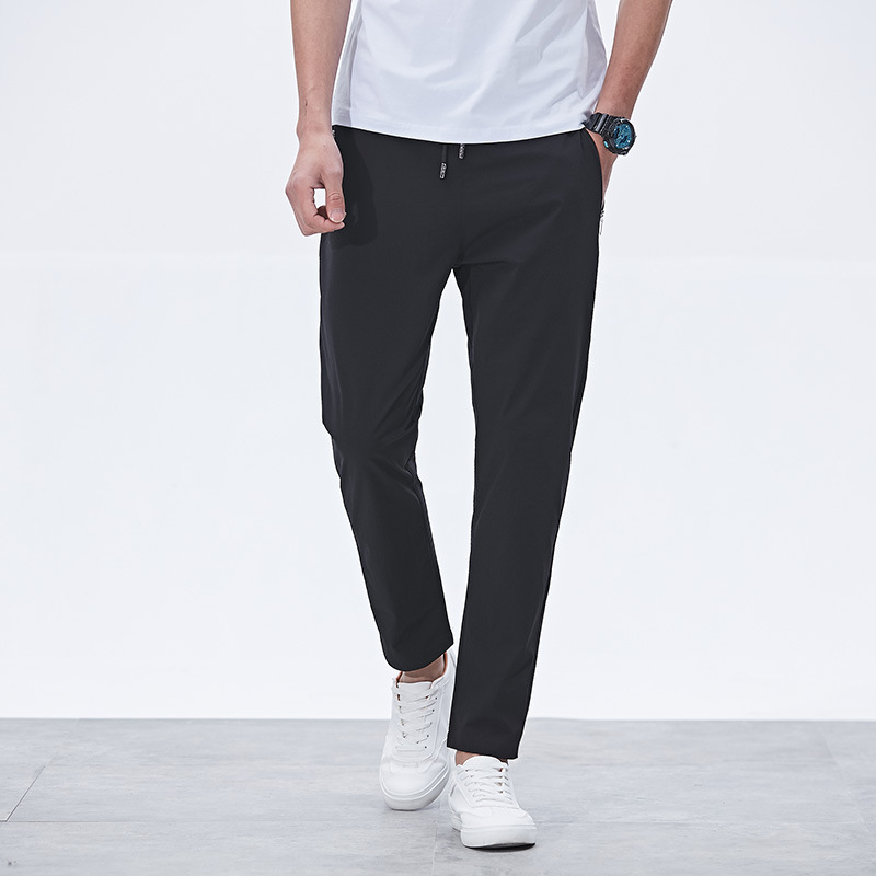 New Style Spring And Autumn Men's Trousers Large Size Sports Ninth Pants Slim Fit Spandex MEN'S Casual Pants Quick-Dry Running S