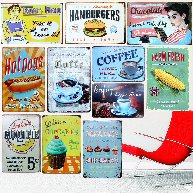 Hamburger Tin Sign Vintage Metal Painting Retro Plaque Poster Home Bar Pub Cafe Wall Decor Chocolate Pie Coffee Art Craft A675