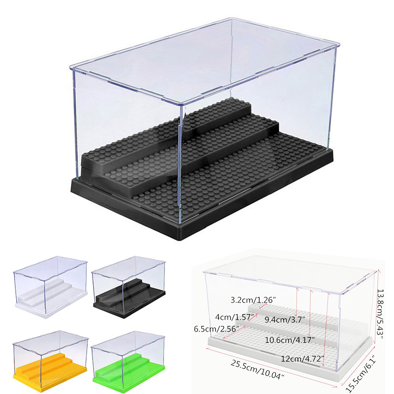 1pc 3 Steps Display Box Dustproof ShowCase Gray Base Compatible All Brands Blocks Acrylic Plastic Display Case 25.5X15.5X13.8cm