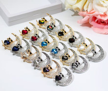 SUNSPICE MS Fashion Animal Crystal Owl Brooch Pins for Women Romantic Scarf Lapel Party Jewelry Kids Gift sunspice ms