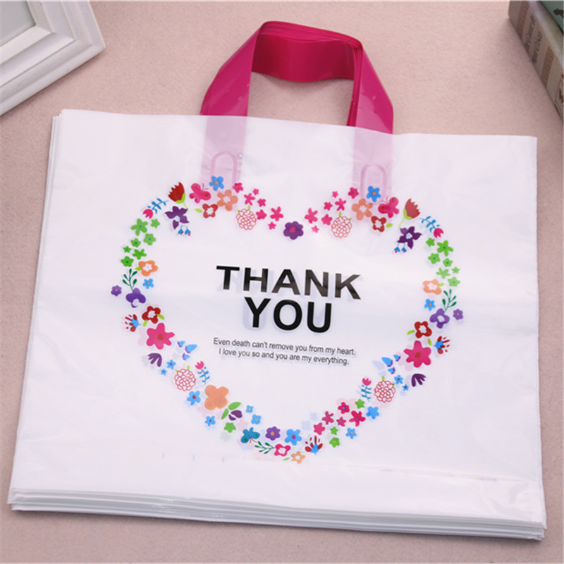 High-density Polythylene Eco-friendly Casamento Packing Bags With Heart 10pcs/lot 29*35cm Thank You Plastic Bags With Handles