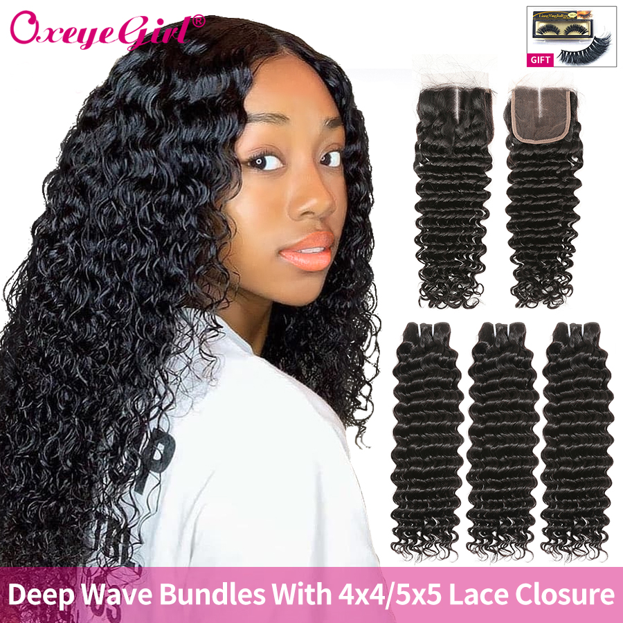 Deep Wave Bundles With Closure Human Hair 3 Bundles With Closure Brazilian Hair Weave Bundles  Can Be Dyed Oxeye Girl Remy Hair