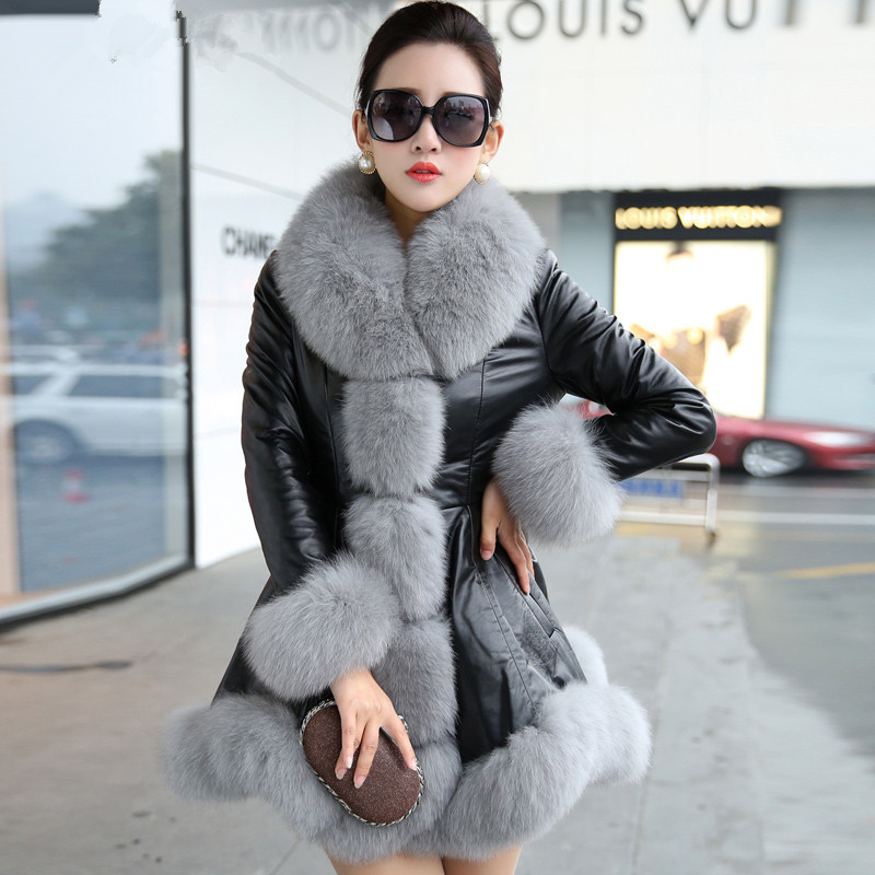 Leather Genuine Jacket Large Fox Fur Collar Down Jacket Winter Jacket Women 100% Real Sheepskin Coat Female Outwear MY