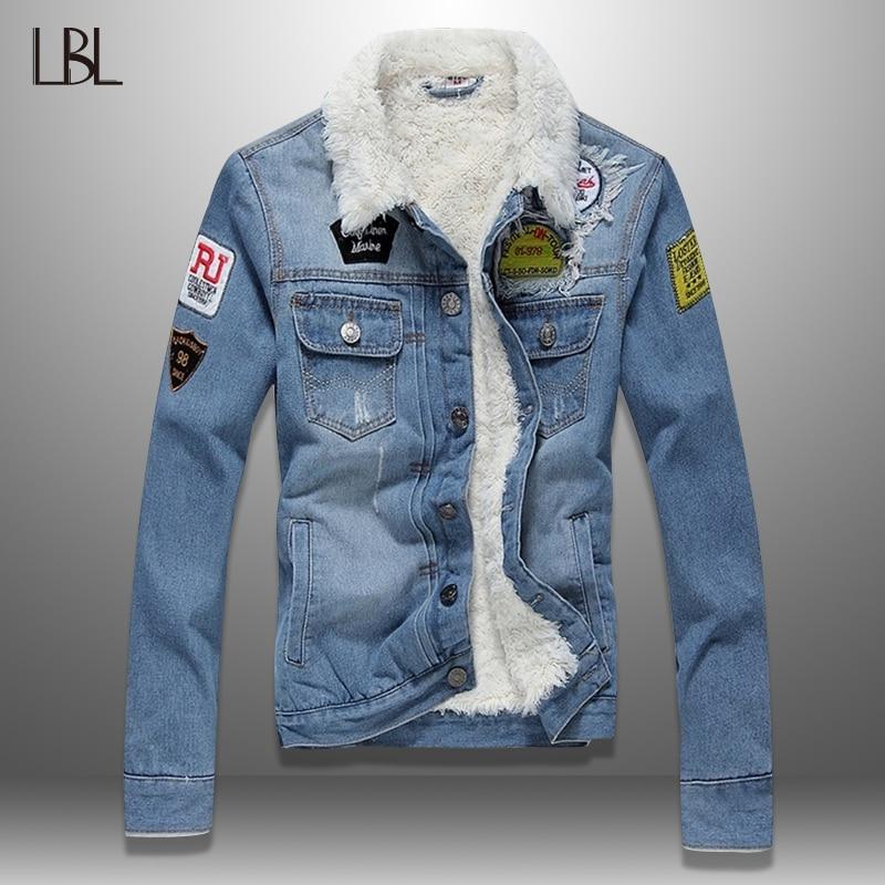 LBL Fleece Inner Denim Jacket Men Winter Fashion Slim Trendy Warm Thick Mens Jean Jackets Outwear Motorcycle Coats Cowboy 2019