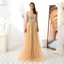 Gold A-Line Prom Dresses 2019 New Arrival Sleeveless Luxury Beading Crystal Sequin Formal Party Long Gowns Elegant robe de gala