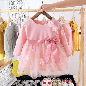 2020 jesień księżniczka dziewczynka sukienka ubrania kwiatowy urodziny chrzest suknie ślubne dla 0-2y noworodka ubrania Vestidos