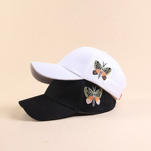 2019 Fashion Butterfly Embroidered Baseball Cap Young Men and Women Cap Leisure Sun Hat fashion women s rivets and sewing thread embellished baseball cap