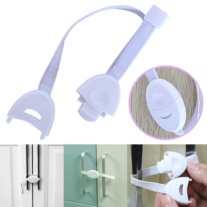 2Pcs Baby Safety Locks Furniture Restrictor Kids Protection Cupboard Cabinet Fridge Door Lock Hot Sale Cabinet Straps Dropship