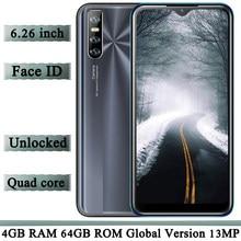 Gesicht Id 9A 6,26 Zoll Wasser Tropfen Bildschirm Quad Core 13MP HD Kamera Smartphones 4G RAM 64G ROM entsperrt Android Globale Handys