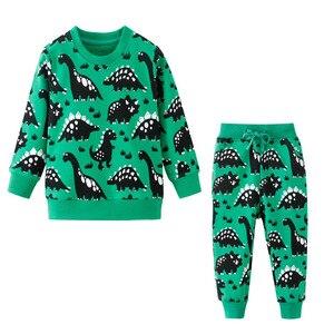 Image 4 - Salto metri Vestiti Per Bambino Set Autunno Inverno Ragazzo Set Vestiti di Sport Per I Ragazzi della Camicia del Maglione Pantaloni 2 Pezzi Set di Bambini
