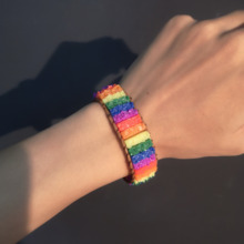 Handmade Rectangular Gay Color Rainbow Resin Hand-knotted Adjustable Bracelet Alloy Rope Wrap Daily Jewelry Gifts