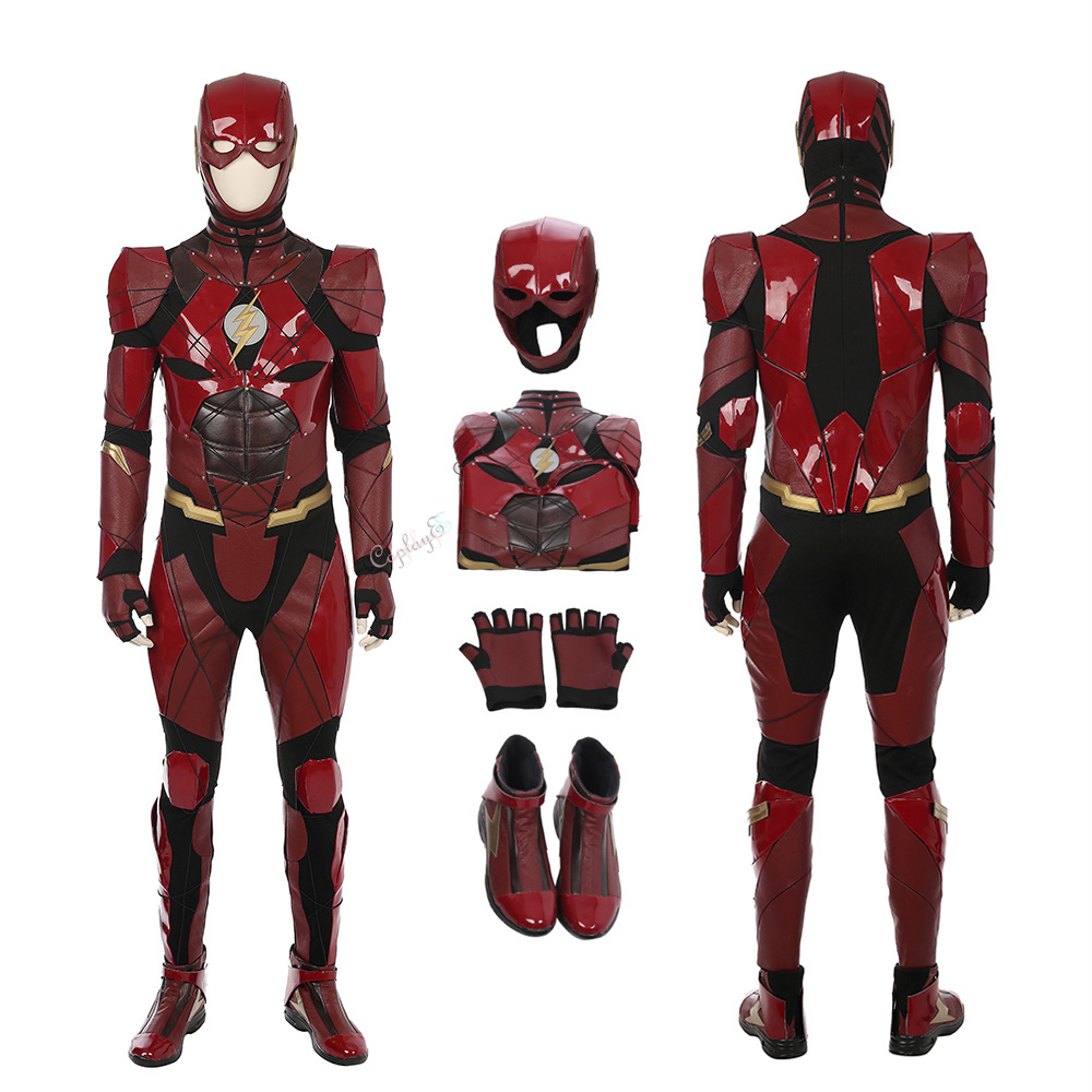 The Flash Costume Justice League Cosplay Barry Allen High Quality Red Full Set