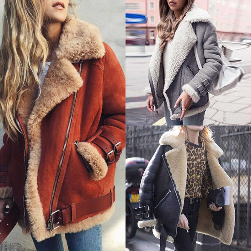 Women Suede Leather Jacket Winter Warm Thick Faux Fur Women Motorcycle Coat Zipper Plus Size Lapel Locomotive Jacket Overcoat