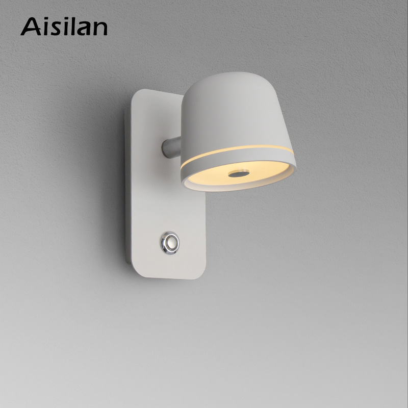 Aisilan LED Bedside Bedroom Dimmable Wall Lamp Living Room Nordic Creative Reading Infinite Dimming Switch Wall Light