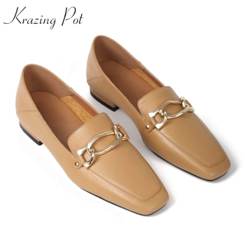 Krazing Pot 2020 genuine leather metal fasteners square toe low heels women pumps slip on concise office lady spring shoes L18