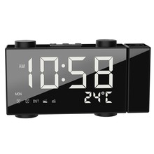 Proyeksi Clock Jam Alarm Digital dengan Fungsi Snooze Termometer 87.5-108 MHz FM Radio USB/Baterai Power Meja jam LED(China)