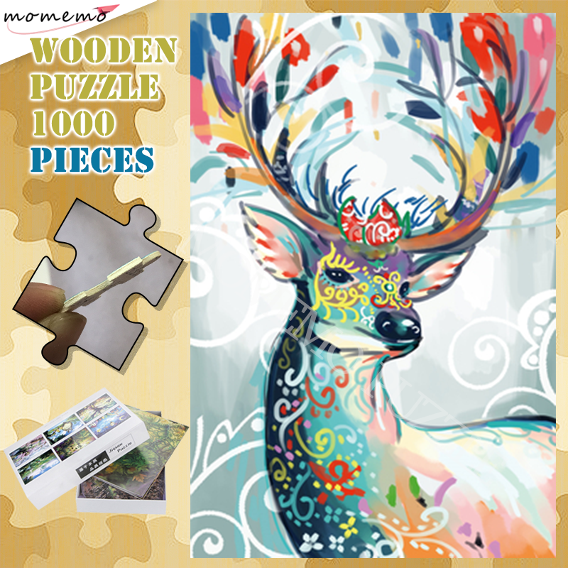 Colorful Deer Wooden Puzzles 300 500 1000 Pieces Animal Jigsaw Puzzle for  Adults Kids Customized Assembling Puzzle Games Toys Puzzles  - AliExpress
