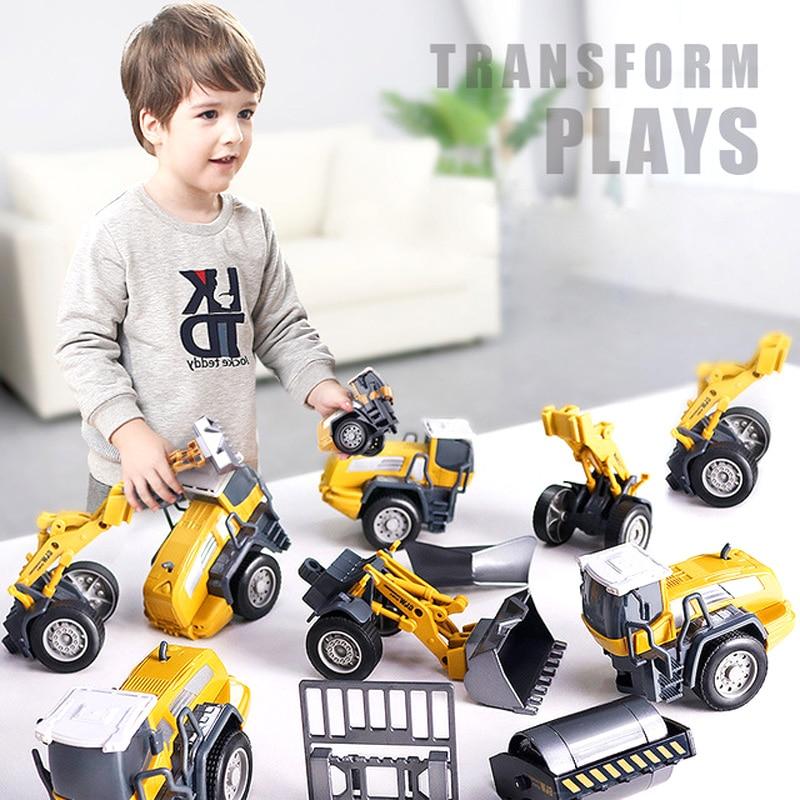 Tractor Car Kids Toy Model Forklift Excavator Dump Truck Crane Engineering Alloy Metal Plastic Diecast Classic Vehicles Gift Boy