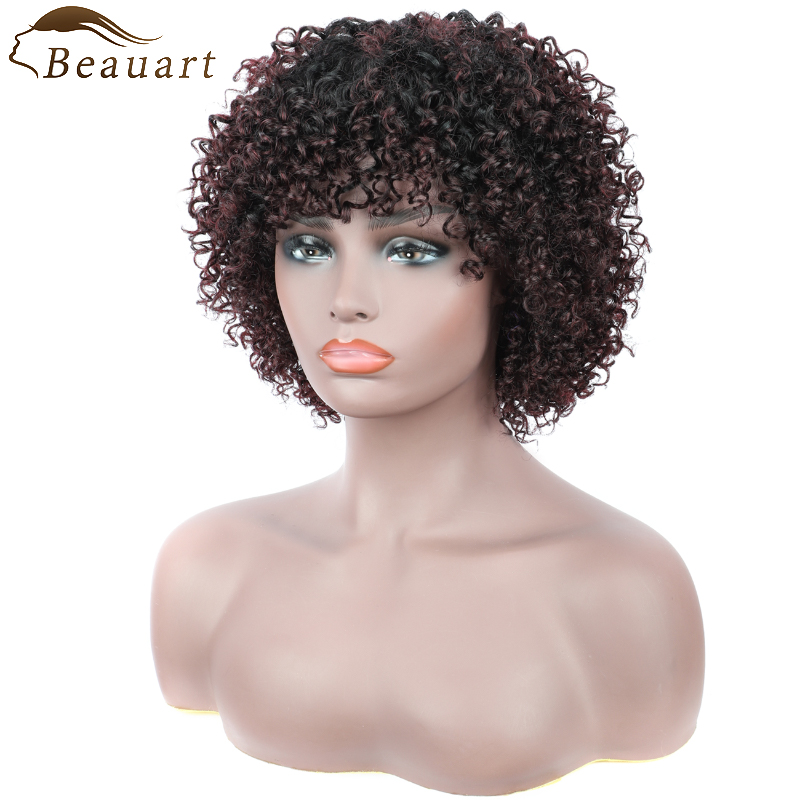 Beauart 100% Brazilian Remy Human Hair Afro Kinky Curly Full Wigs For Black Women  Kinky Curls Machine Wig With Hair Bangs