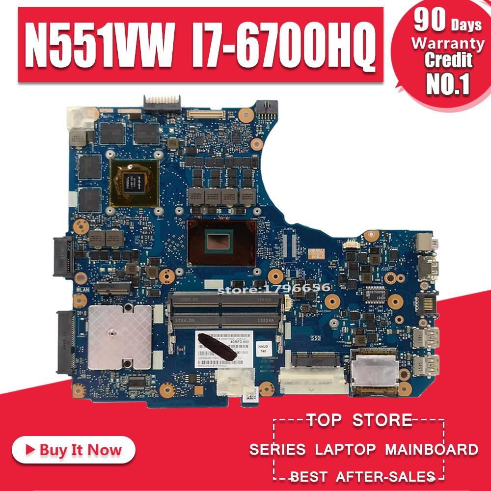 N551VW For <font><b>ASUS</b></font> <font><b>N551V</b></font> G551V FX551V G551VW FX51VW N551VW Laptop Motherboard I7-6700HQ CPU GTX960M motherboard Test work 100% image