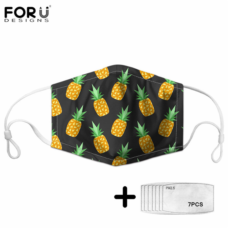 FORUDESINGS Summer Tropical Pineapple Design Unisex Couple Outdoor Bicycle Ski Anti Dust Germproof Masques Kids&Adults Maske